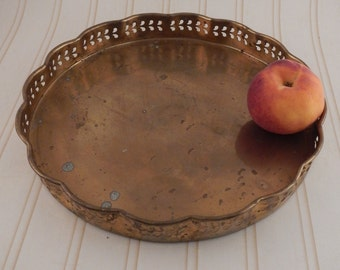 Brass Tray with Scalloped Edging
