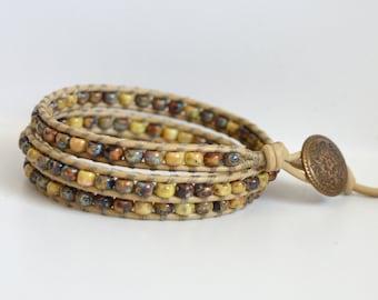 Beaded Wrap Bracelet, 3x Wrap Bracelet, Triple Wrap Beaded Bracelet, Boho Style Bracelet, Bohemian Wrap