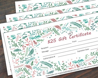 Instant Download Gift Certificate - Printable Gift Card - Jewelry Gift Card - Downloadable Gift Card - Gift Voucher - Birthday Gift