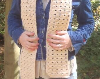 Beige Cable Scarf - Trendy Boho Crochet Cream Scarf - Soft Beige