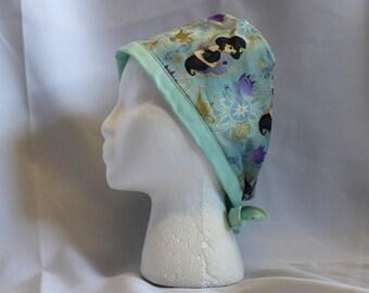 Mint Green Jasmine Princess Surgical Scrub Cap Chemo Dental Hat