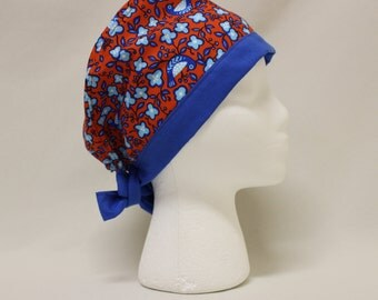 Red and Blue Birds and Flowers Surgical Dentist Scrub Cap Chemo Hat