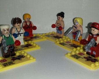 Street Fighter Set of 6 Minifigures Ryu Ken Guile M.Bison E.Honda Vega (LEGO Compatible)