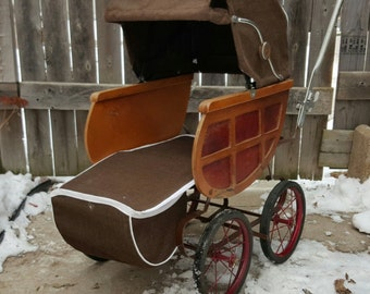 Antique,Baby Doll Carriage, Stroller, Baby Carriage, 1940's, Vintage Child's Buggy, Doll Stroller, Collectible, Pretend Play, Doll Collector