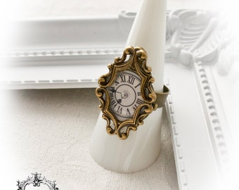Steampunk ornate clock ring-ADJUSTABLE -steampunk ring-vintage ring-bronze ring-gothic ring-steampunk gothic jewelry