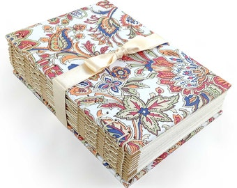Journal in Jacobean Floral Print. Red & Blue Hand Bound Writing Journal. Perfect as a memory album, bullet journal, or wedding planner.
