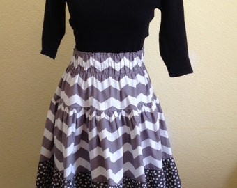 Grey and White Chevron and Polka Dot Tiered Skirt