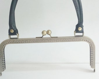 1 bronze metal purse frame with sewing holes 24 cm, supplies, purse frame with black leather handle