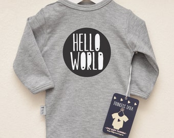 Baby Announcement Clothes. Hello World Baby Outfit. Funny Text Baby Clothes. Baby Girl or Baby Boy Infant Shirt. Baby Shower Gift
