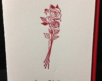 For My Valentine - Hand-printed Letterpress Card for Valentine's Day
