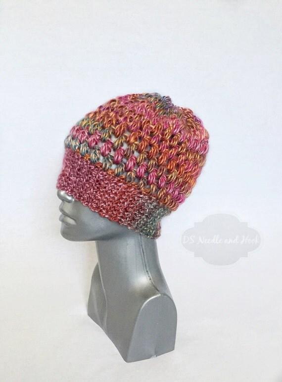 Red, Pink, Orange and Green Puff Stitch Beanie, Handmade Crochet Hat, Slouchy Beanie, Cozy Winter Hat, Red Tam Hat, Ski Cap