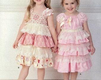 FREE US SHIP Simplicity 1474 Girls ruffle Dress Headband Melissa Myers Designer Size 2 3 4 5 6 6x Sewing Pattern Uncut New