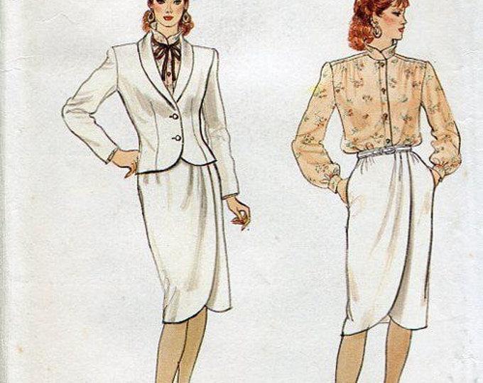 Free Us Ship Sewing Pattern Vogue 8523 Vintage Retro 1980's 80's Tulip Skirt Wide shoulder Jacket Business Suit Uncut Size 8 Bust 31.5