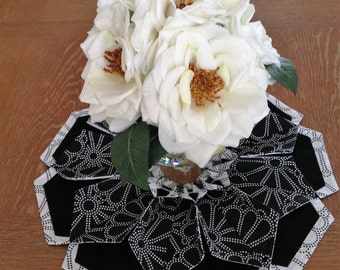 The Blossom - Table Topper, Candle Mat, Wreath, Black & White