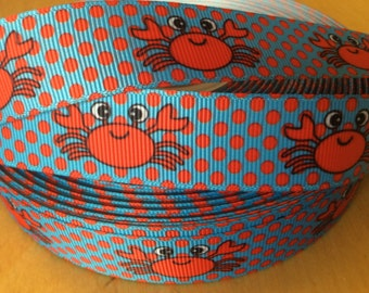 "Crab Ribbons, Beach Ribbons Ribbons, Grosgrain Ribbon 7/8"", Perfect for Scrapbooking, Hair bows and More, Choose from 1-10 yards"
