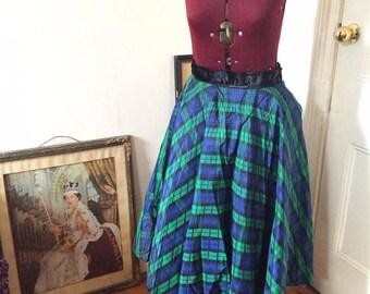 1950s silk taffeta flocked velvet circle skirt plus size joe davidson original