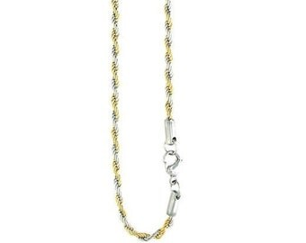 """10- 6mm Two Tone Rope Chians, Gold Plated Stainless Steel Rope Chains, Available in 20"""", 24"""", and 30"""", Wholesale Steel Jewelry #CHN9701-6mm"""