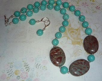 Real Turquoise and Jasper Necklace and Earrings Set