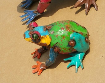 Multi colored metal frogs