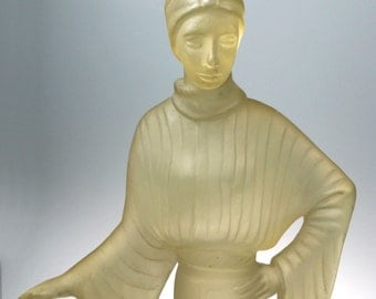 Austin Productions Frosted Acrylic Art Deco Female Lady Sculpture 19 In 1980