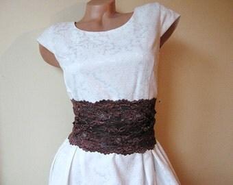 Wide brown lace belt Elastic Bridal womens stretch belt