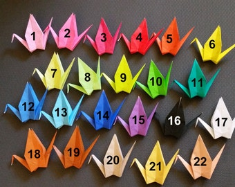 Made to Order - 100 Large origami paper cranes in a Single Color - 22 colors to choose from- great for weddings, parties
