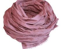 Rose Quartz Hand-Dyed Linen Scarf / Women's Linen Scarf / Women's Spring Scarf / Women's Pink Scarf / Women's Scarf / Women's Long Scarf