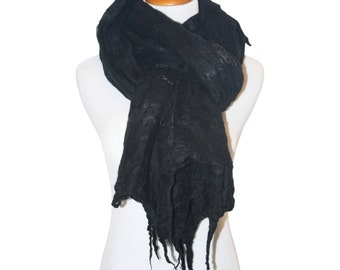 Merino Wool and Silk Scarf, Black / Women's Scarf / Black Scarf / Wool Scarf / Felted Scarf / Merino Wool Scarf / Winter Scarf / Scarf