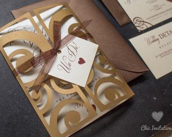 Elegant Invitation Gold With Brown Wedding Invitation Brown Bronze Gold Wedding Invitation  Vintage Invitation (50 INVITATIONS)