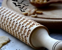 Halloween party pattern Rolling-pin Skull Embossed Cookware Hallowing gift Hallowing idea Hallowing decor Hallowing cookies Baking Scary