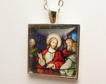Jesus Christ Photo Pendant, Jesus of Nazareth Necklace, Jesus and Disciples Photo Pendant, Jesus Photo Pendant, Christian Jewelry