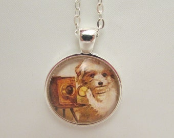 Vintage Dog with Camera Glass Necklace, Dog Necklace, Dog Pendant, Glass Dog Charm, Vintage Dog, Edwardian Dog, Necklace, Pendant, Charm