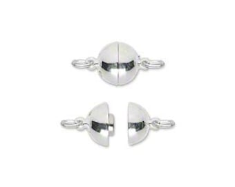 Sterling Silver Magnetic Smooth Round Clasp, 8mm