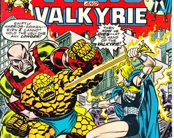 Marvel Two in One 7 comic book. The Defenders, Valkyrie and Fantastic Four, Thing, Vintage Bronze Age. Marvel Comics from 1975 in VF (8.0)