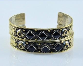 Afghan Tribal cuff bracelets ,Gypsy Cuff Bracelet,Onyx Cuff  bracelet,Afghan jewelry,Bangle bracelet,Tribal Onyx jewelry,Kuchi bracelet