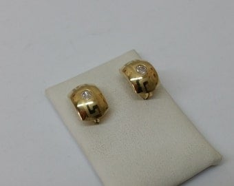 Earrings gold 585 earrings meander Crystal OR105