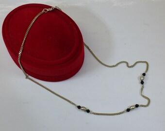 Silver 835 necklace silver balls Onyx HK195
