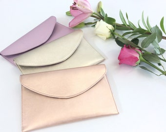 Leather Wristlet Pouch.Envelope leather bag.Leather clutch.Bridesmaid leather bag purse clutch.Metallic rose leather pouch.Ready to ship.