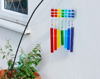 Rainbow WindChime Suncatcher for Garden or Home, Very Colourful Fused Glass Art, Handmade