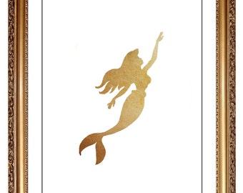 ariel print diy printable neutral gold beige watercolor ariel little mermaid print picture art