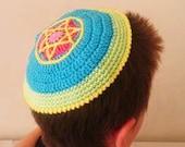 STAR OF DAVID Crochet kippot kippah yarmulke scullcap cupple blue Jewish Judaism