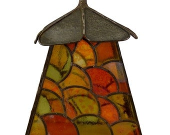 arts and crafts tiffany style stained glass lamp shade light lantern signed by