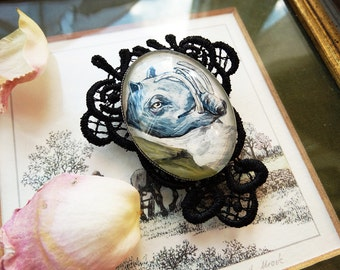 Animal brroch, gothic brooch, Pig, Babirusa, hand painted, surreal jewelry, made to order, black lace, custom brooch