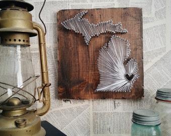 Michigan String Art, State String Art, Michigan Nail Art, Michigan love, Michigan home, Rustic Decor, custom sign, MI, 12x12