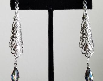 Swarovski Crystal Vitrail Medium Stainless Steel Teardrop Earring