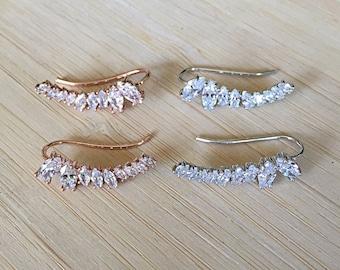 Gia Earrings. 18K White Gold or Rose Gold Plated Cubic Zirconia Ear Climbers Earrings. Ear Hook. Ear Wrap. Crystal Ear Crawler.