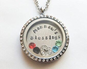 MAMMAW'S BLESSINGS - Custom Floating Charm Locket - Memory Locket - Custom Hand Stamped Gift for Mammaw