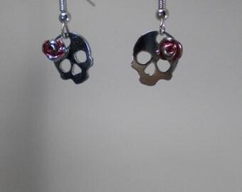 Earrings - human skull flower - Rock - Bronze, Chrome, silver, enamel, red - jewel Skull