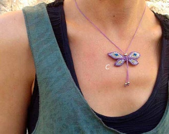 Macrame butterfly pendant Mod. MAITE in three colors , macrame necklace, jewelry gipsy, boho butterfly, special necklace knots, yoga amulet