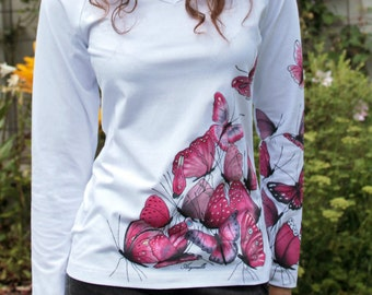 Hand-painted T-shirt - Butterfly's party - cyclamen, unique,original hand made t-shirt, handpainted,hand painted t-shirts,made to order